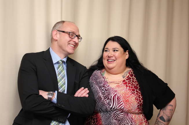 Dr. Dunbar and Candy Palmater, grateful patient who shared her inspiring story at the announcement.